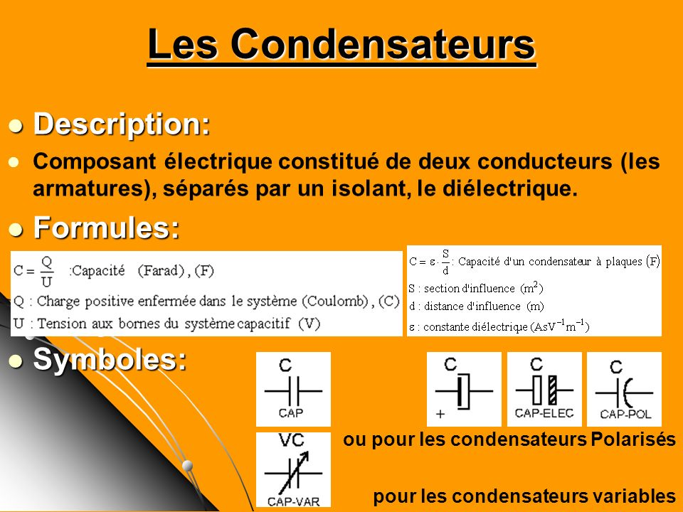 Les Condensateurs Description: Formules: Symboles: