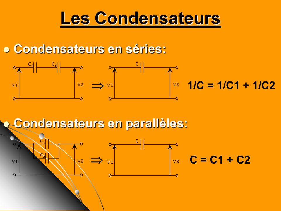 Les Condensateurs Condensateurs en séries:  1/C = 1/C1 + 1/C2