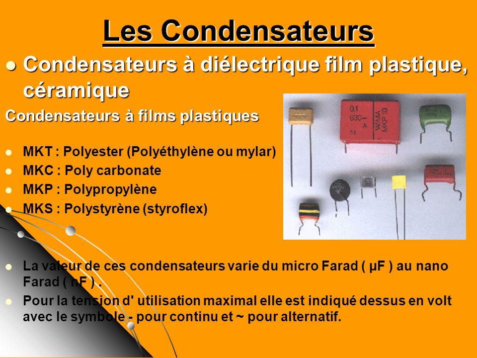 Les Condensateurs Condensateurs à diélectrique film plastique, céramique. Condensateurs à films plastiques.