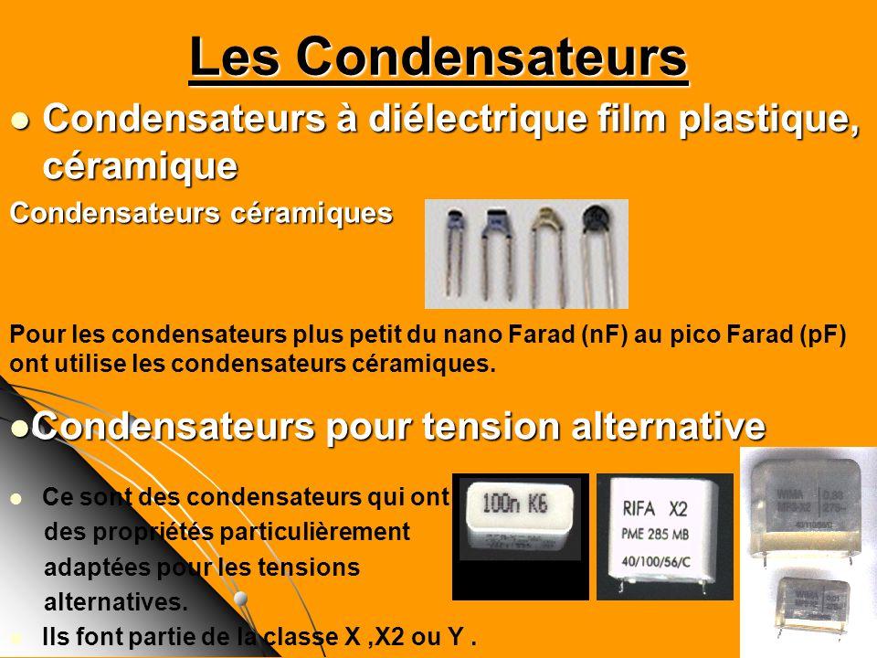 Les CondensateursCondensateurs à diélectrique film plastique, céramique. Condensateurs céramiques.