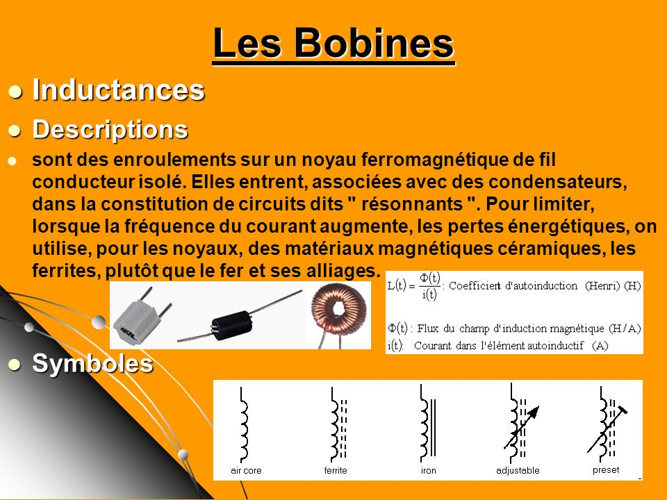Les Bobines Inductances Descriptions Symboles
