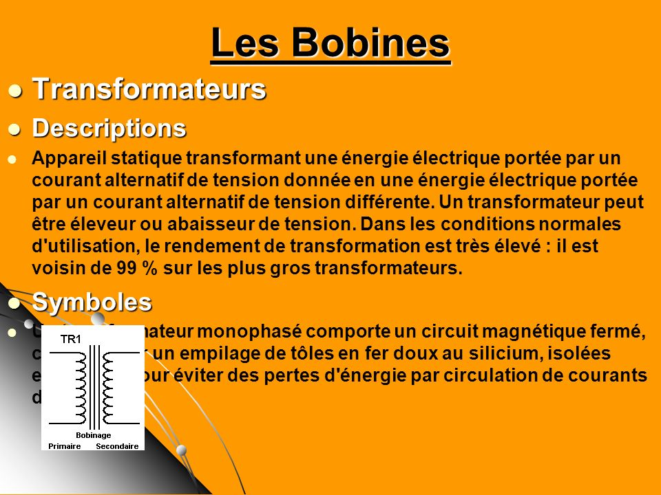 Les Bobines Transformateurs Descriptions Symboles