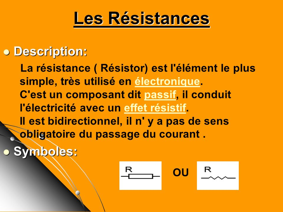Les Résistances Description: Symboles: