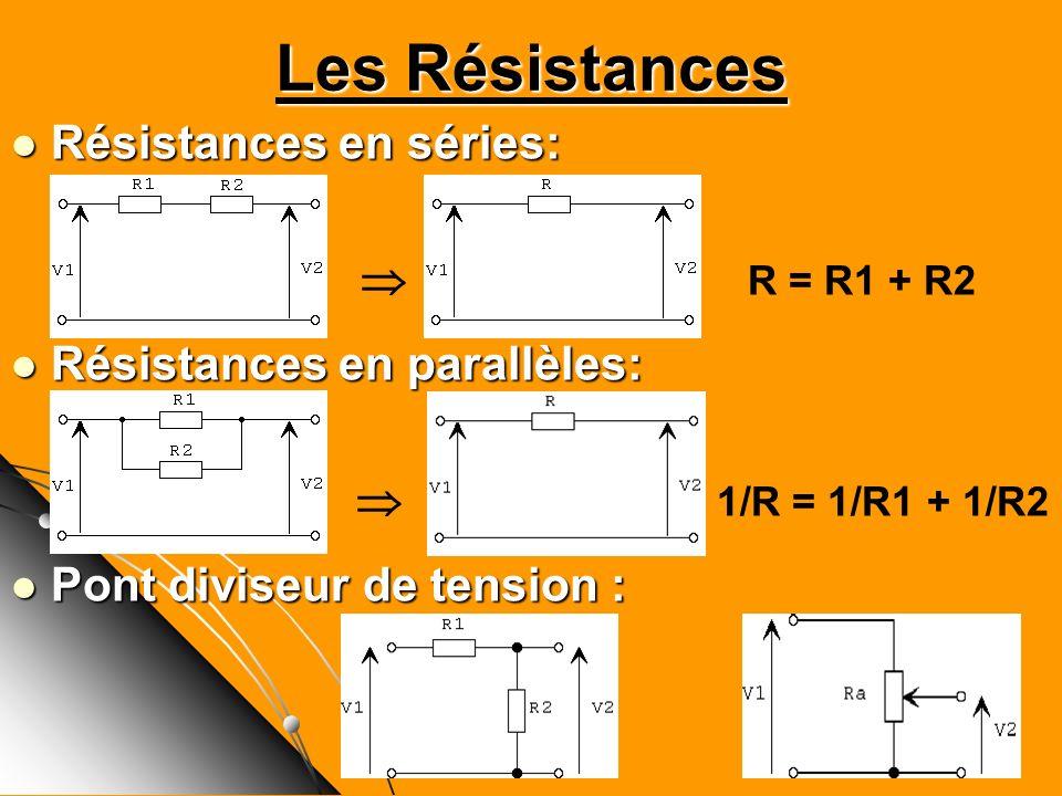 Les Résistances Résistances en séries:  R = R1 + R2