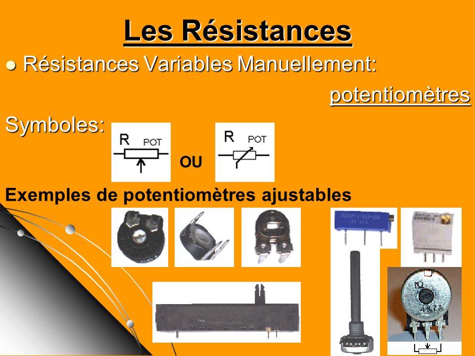 Les Résistances Résistances Variables Manuellement: potentiomètres