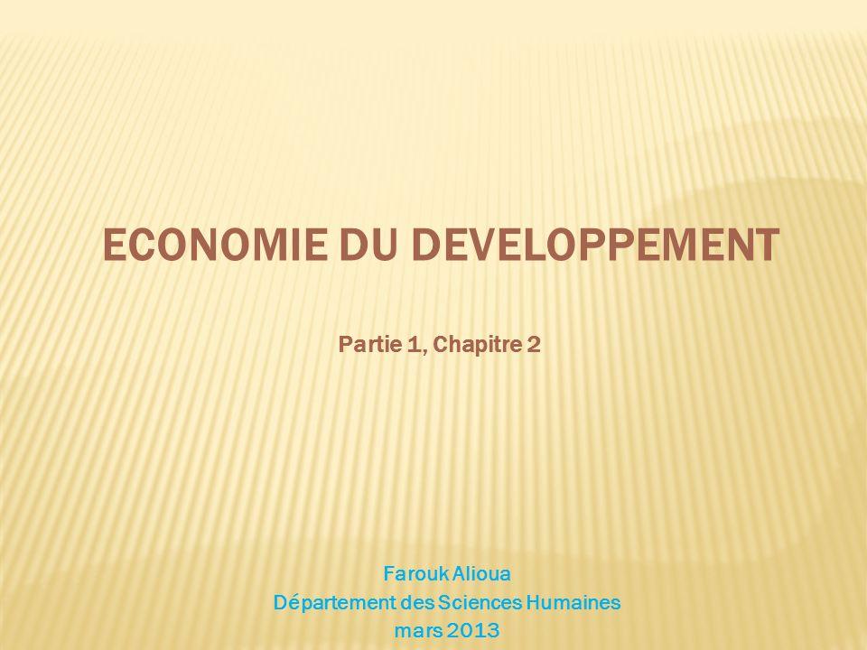 ECONOMIE DU DEVELOPPEMENT Partie 1, Chapitre 2