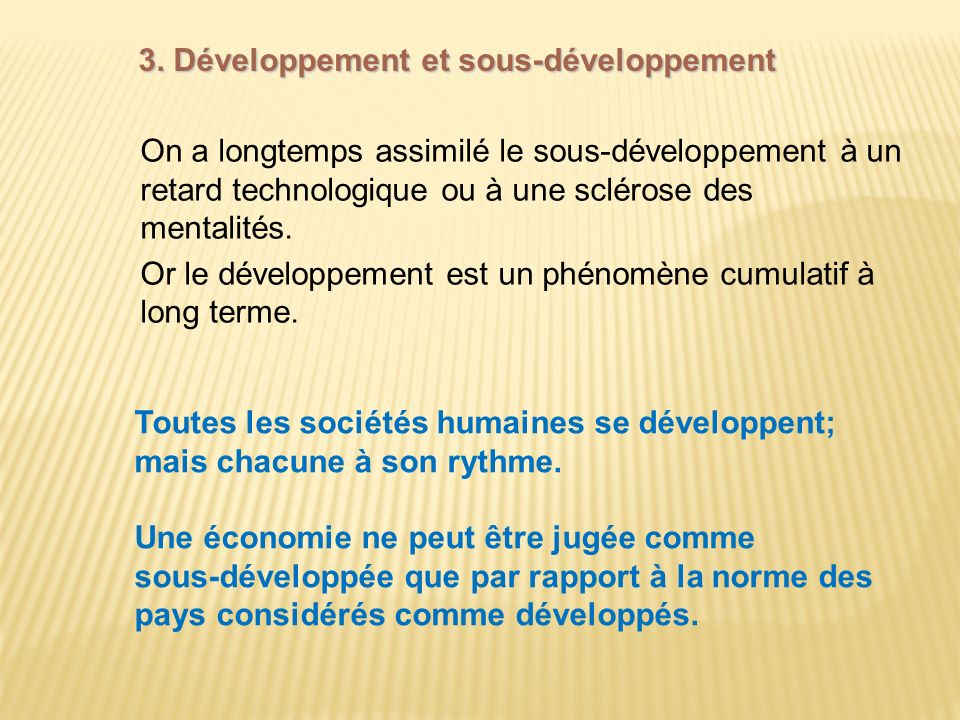 3. Développement et sous-développement
