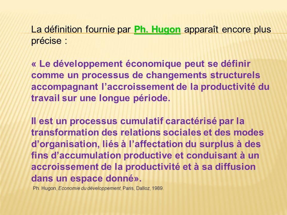 La définition fournie par Ph. Hugon apparaît encore plus précise :