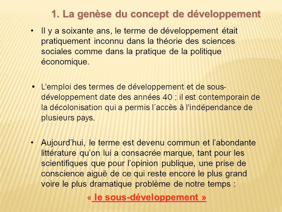1. La genèse du concept de développement