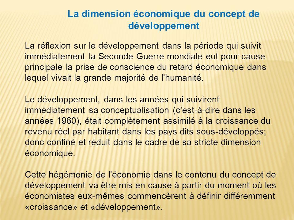 La dimension économique du concept de développement