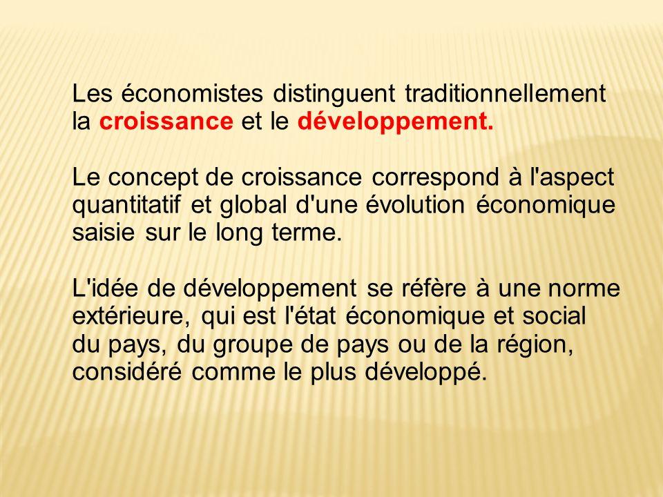 Les économistes distinguent traditionnellement la croissance et le développement.