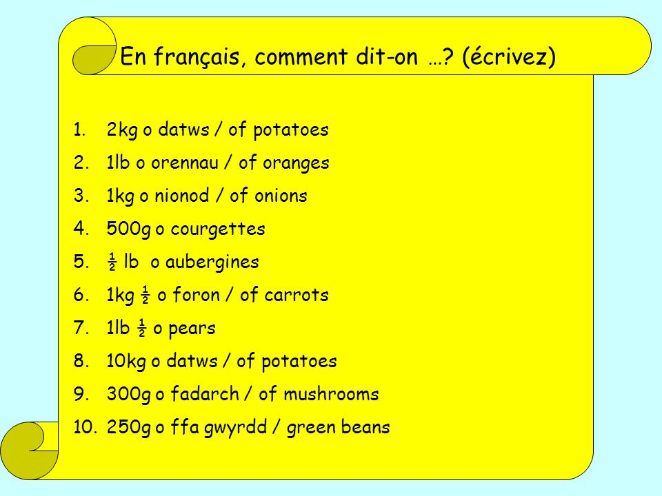 En français, comment dit-on … (écrivez)