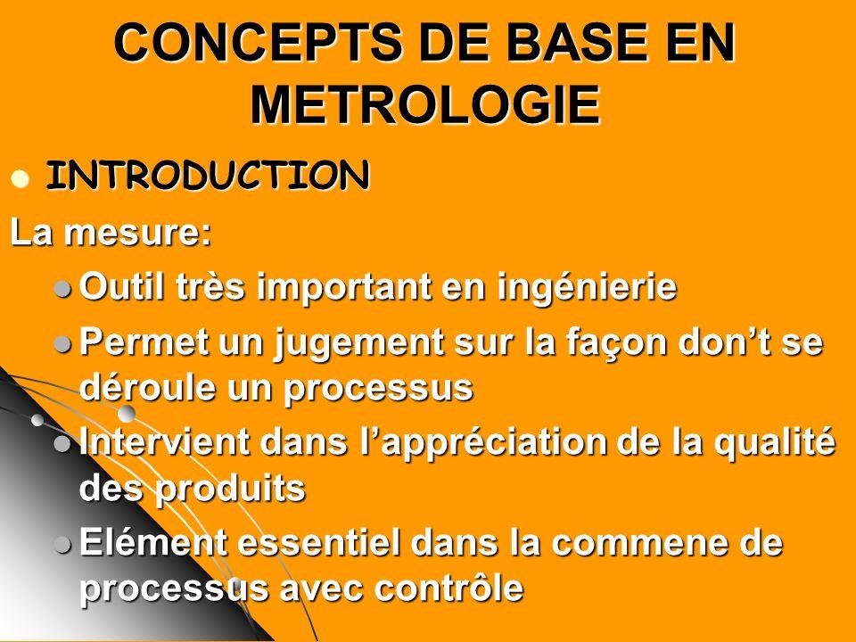 CONCEPTS DE BASE EN METROLOGIE