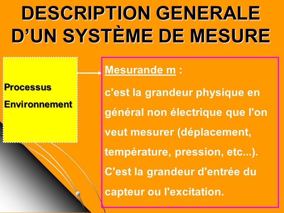 DESCRIPTION GENERALE D'UN SYSTÈME DE MESURE