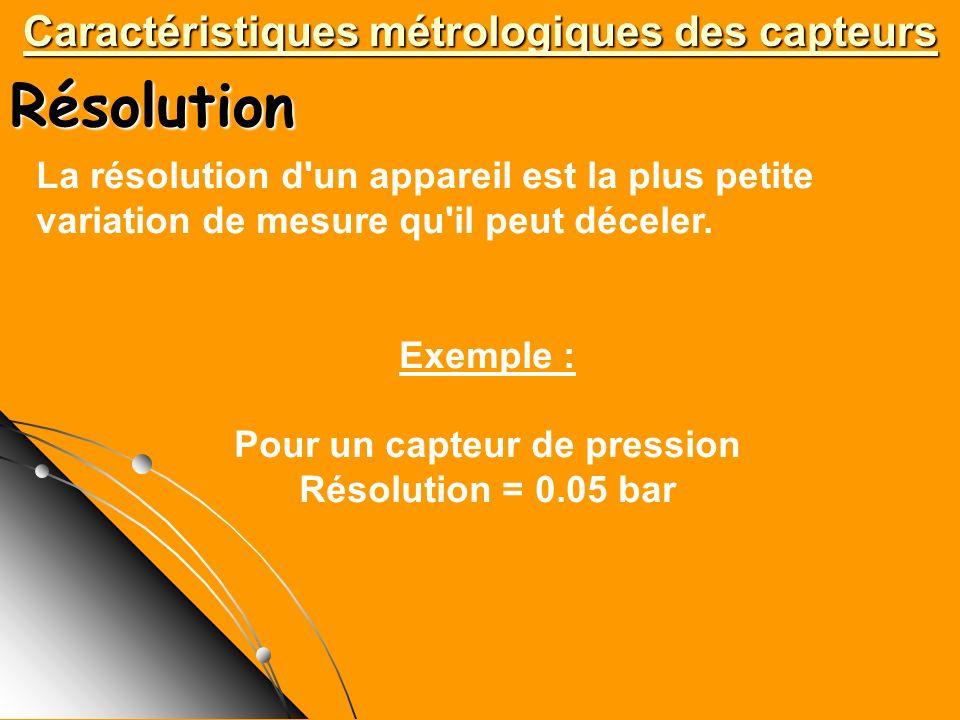 Résolution Caractéristiques métrologiques des capteurs