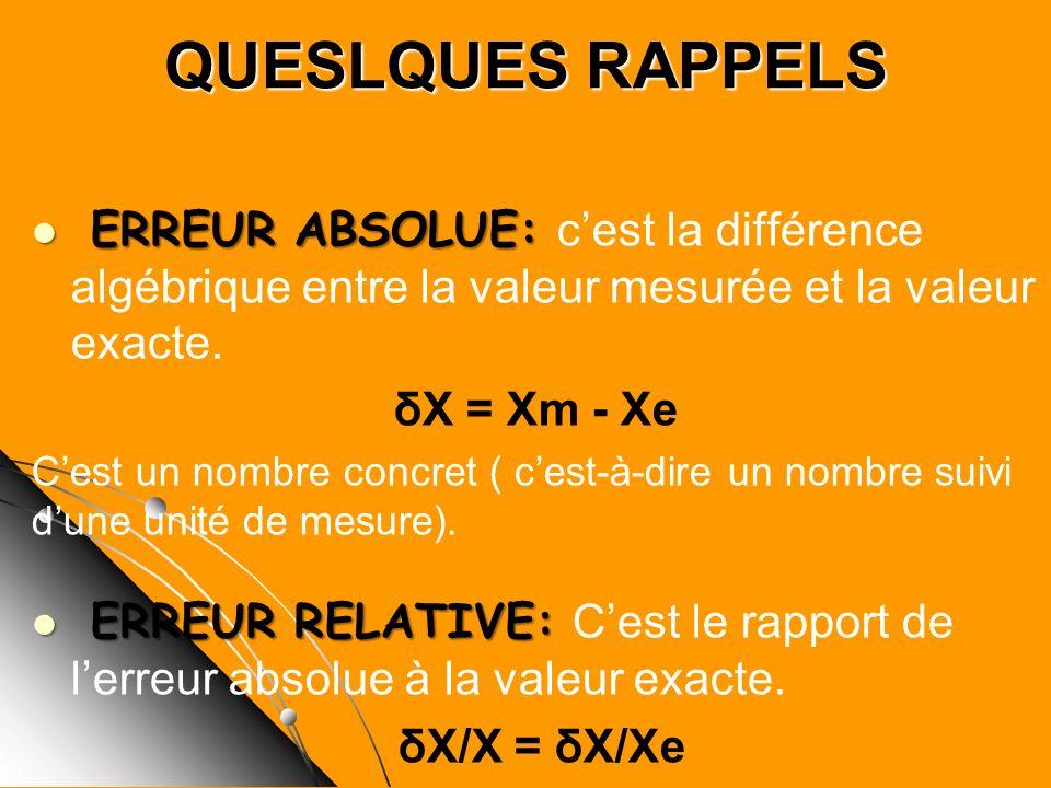 QUESLQUES RAPPELS ERREUR ABSOLUE: c'est la différence algébrique entre la valeur mesurée et la valeur exacte.