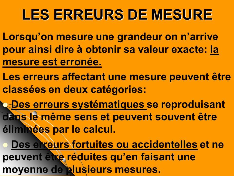 LES ERREURS DE MESURE Lorsqu'on mesure une grandeur on n'arrive pour ainsi dire à obtenir sa valeur exacte: la mesure est erronée.