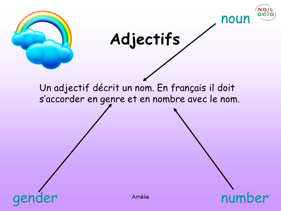 Adjectifs noun gender number