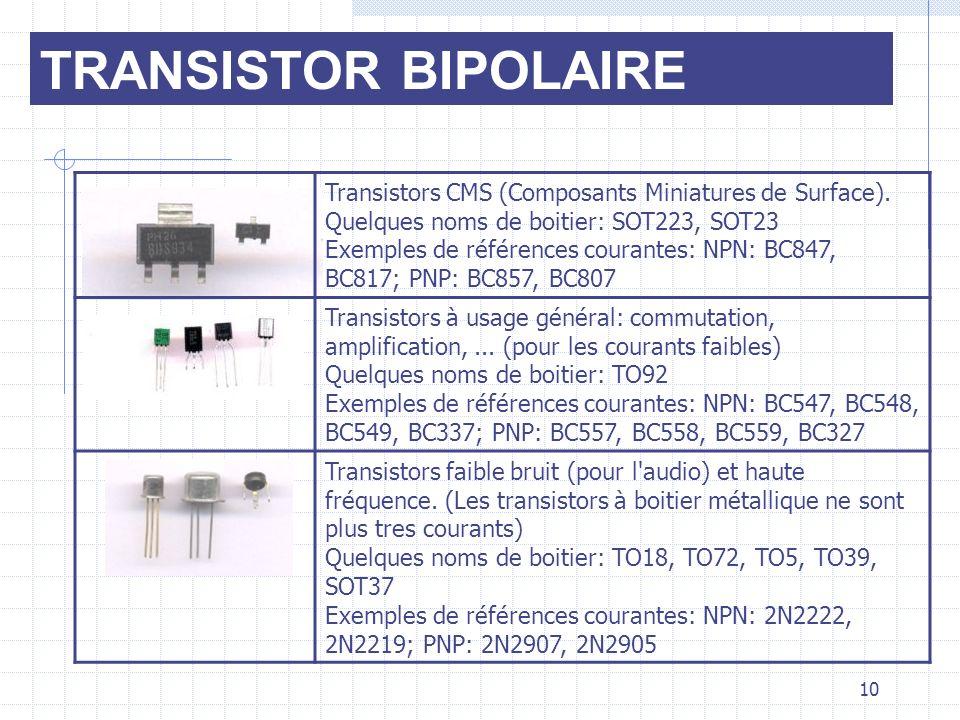 TRANSISTOR BIPOLAIRE Transistors CMS (Composants Miniatures de Surface).