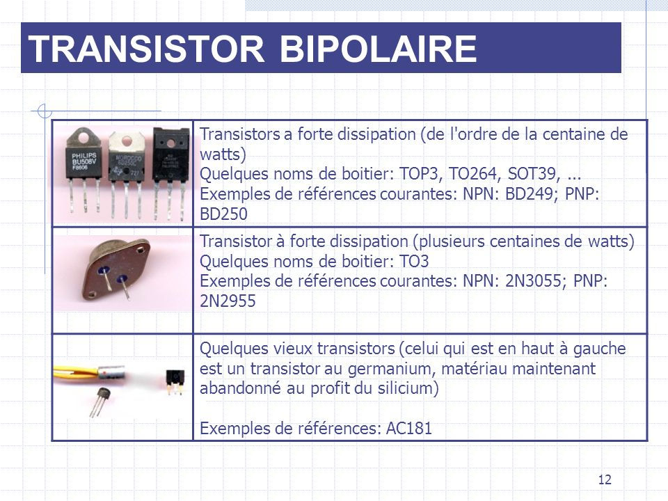 TRANSISTOR BIPOLAIRE Transistors a forte dissipation (de l ordre de la centaine de watts)