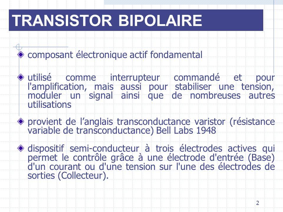 TRANSISTOR BIPOLAIRE composant électronique actif fondamental