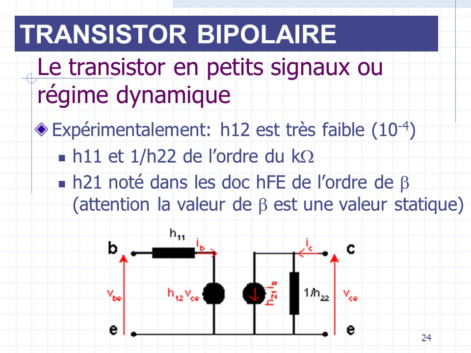 Le transistor en petits signaux ou régime dynamique