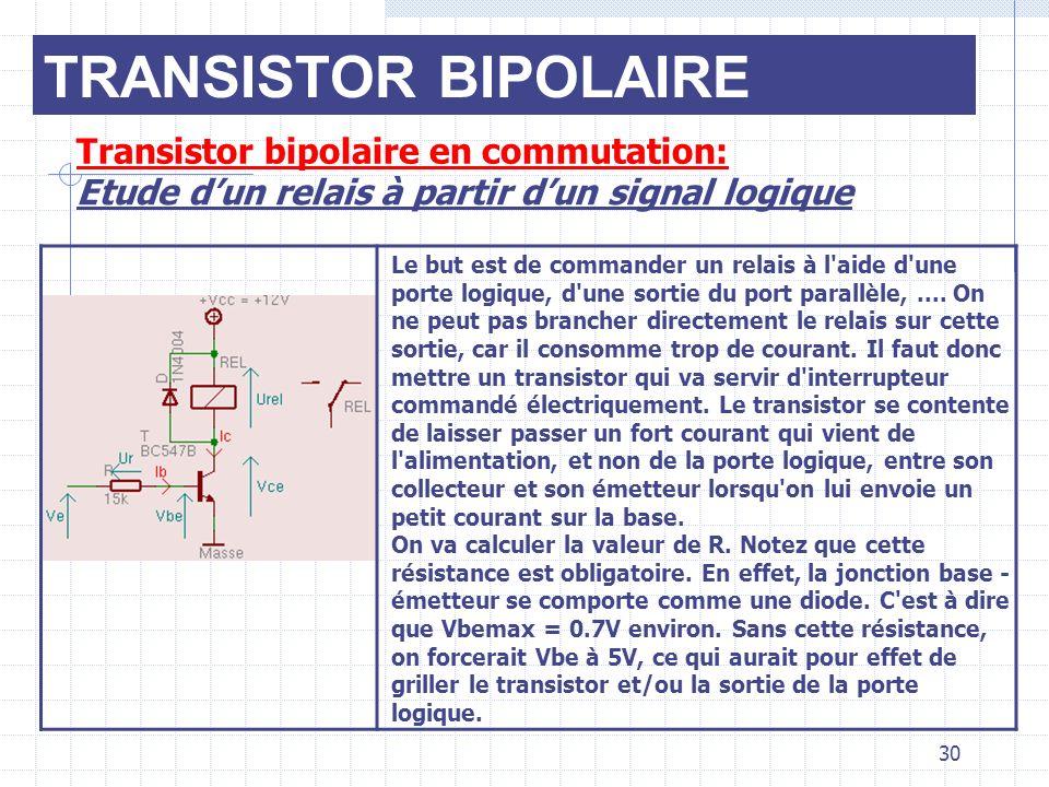 TRANSISTOR BIPOLAIRE Transistor bipolaire en commutation: