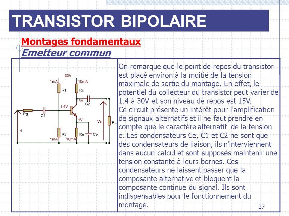 TRANSISTOR BIPOLAIRE Montages fondamentaux Emetteur commun