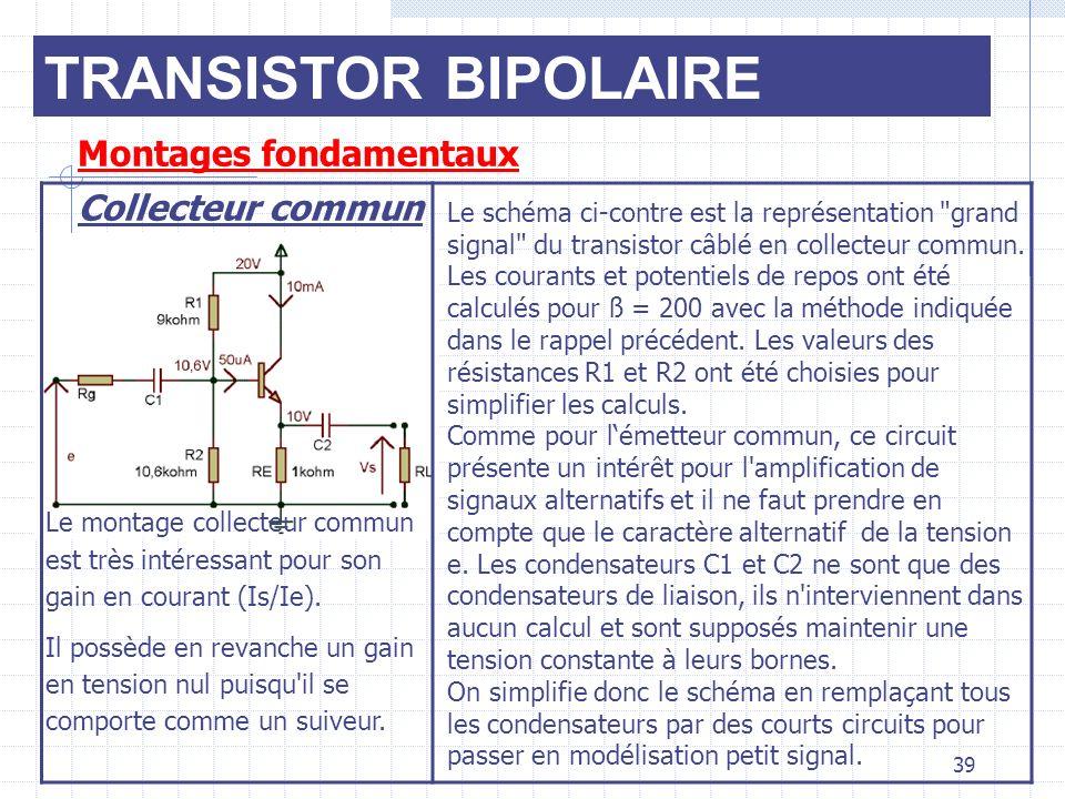 TRANSISTOR BIPOLAIRE Montages fondamentaux Collecteur commun