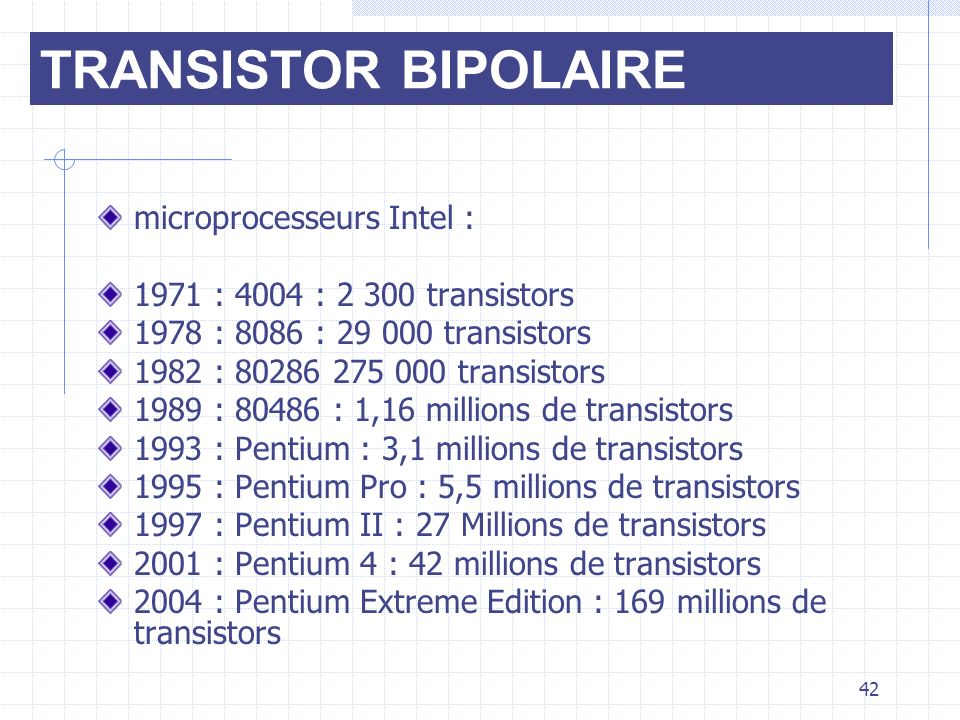 TRANSISTOR BIPOLAIRE microprocesseurs Intel :