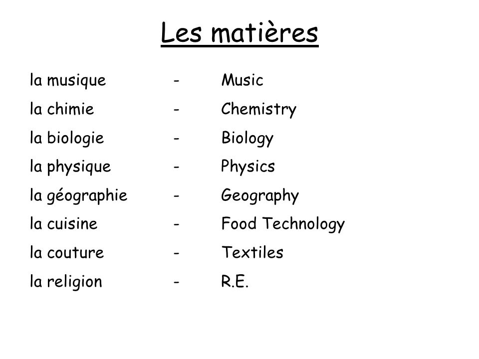 Les matières la musique - Music la chimie - Chemistry