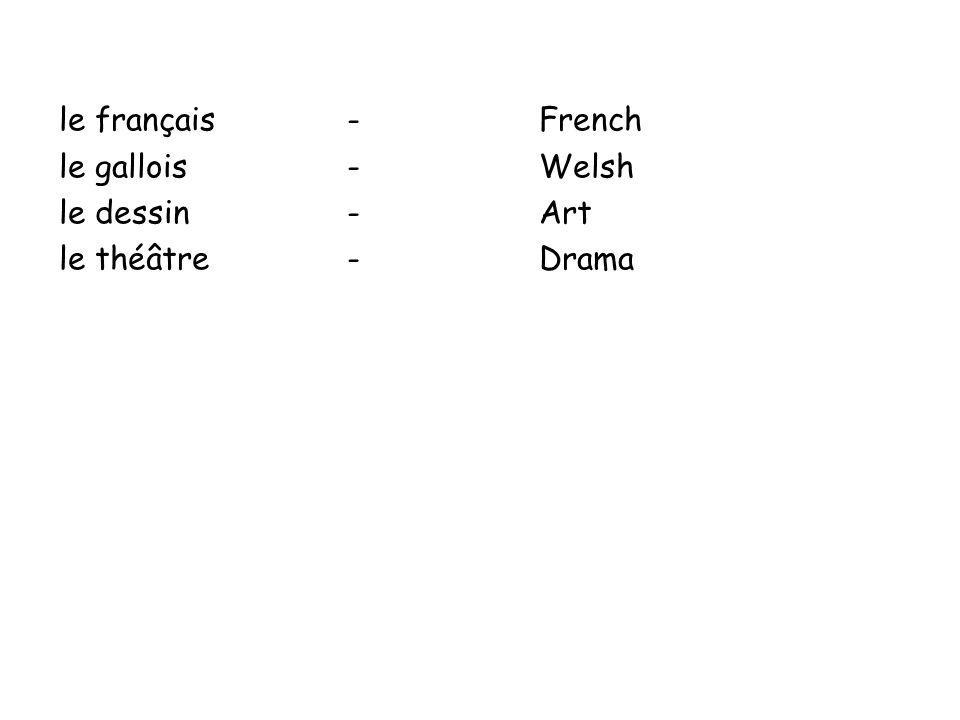 le français - French le gallois - Welsh le dessin - Art le théâtre - Drama