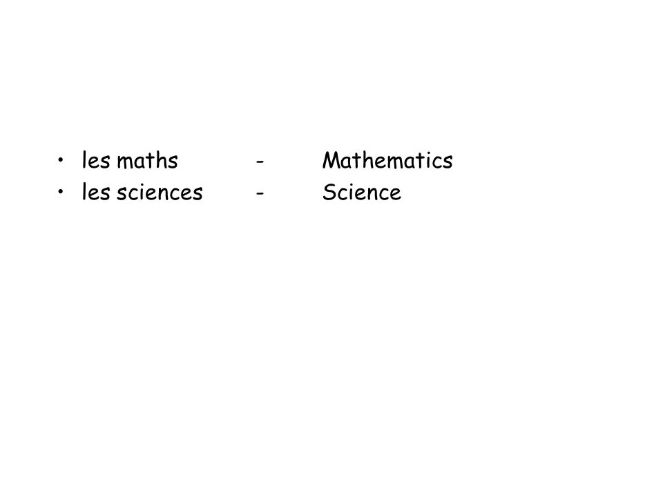 les maths - Mathematics