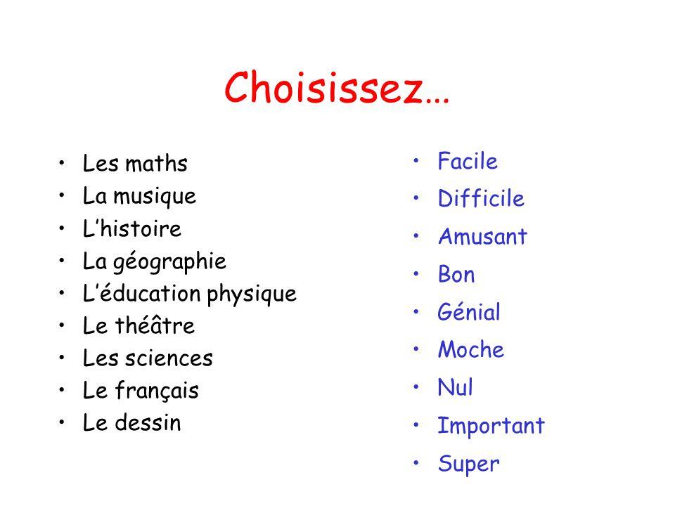 Choisissez… Les maths La musique L'histoire La géographie