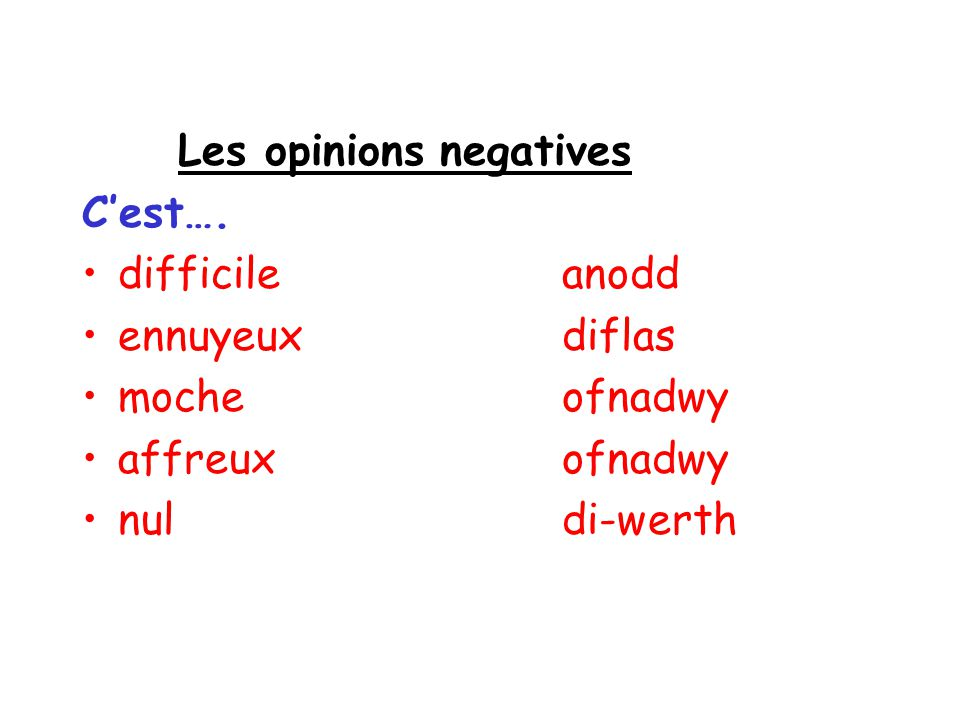 Les opinions negatives