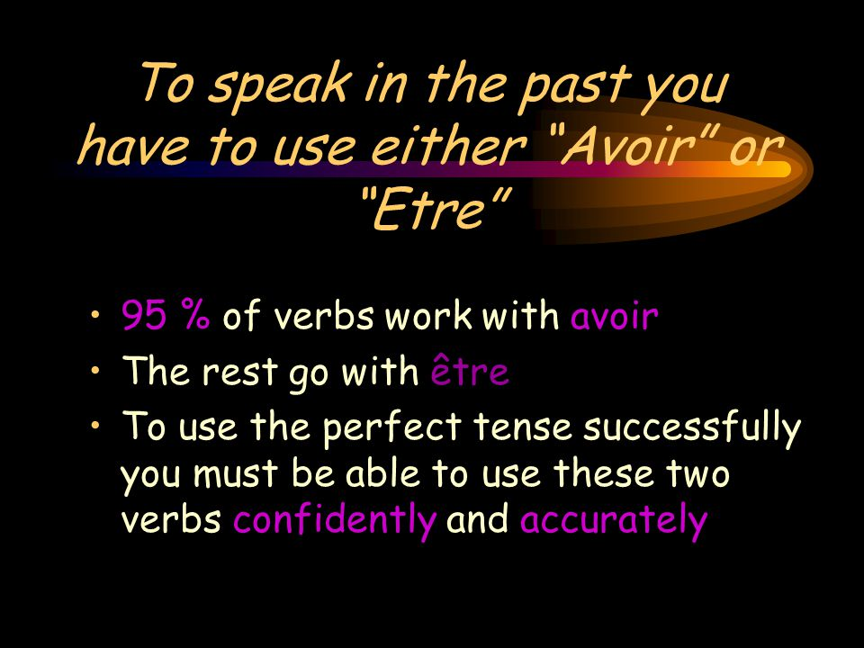 To speak in the past you have to use either Avoir or Etre