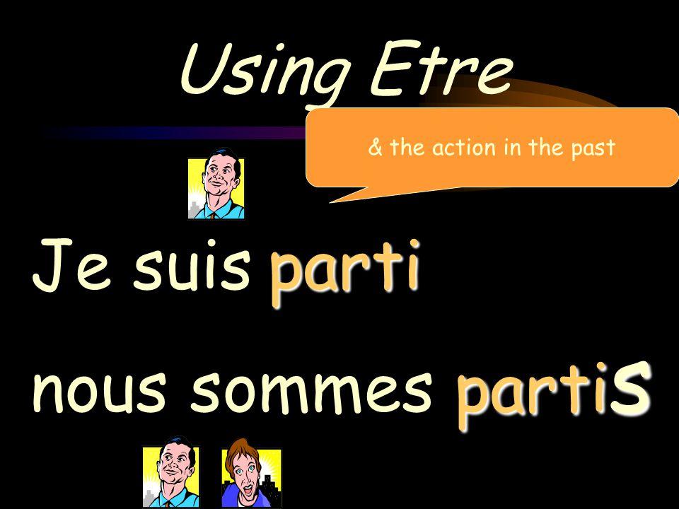 Using Etre & the action in the past Je suis nous sommes parti partis