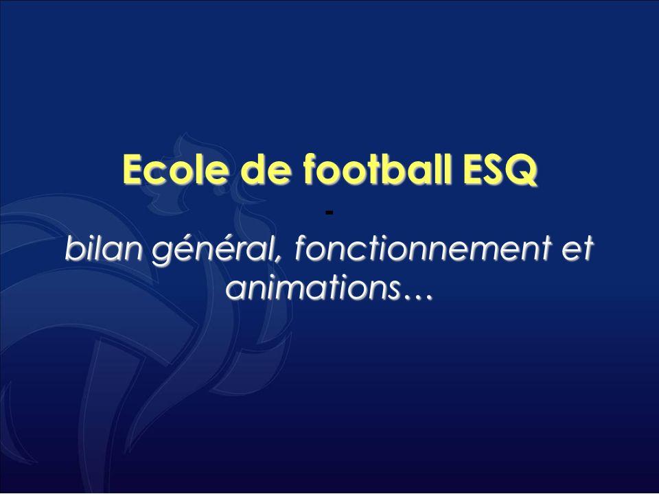 Ecole de football ESQ - bilan général, fonctionnement et animations…