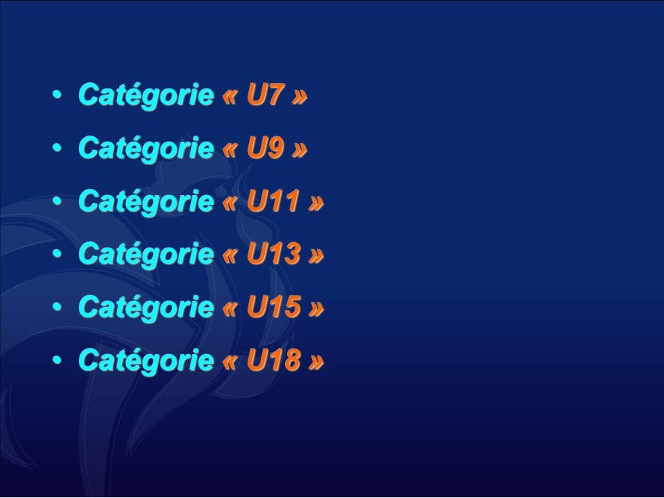Catégorie « U7 » Catégorie « U9 » Catégorie « U11 » Catégorie « U13 » Catégorie « U15 » Catégorie « U18 »