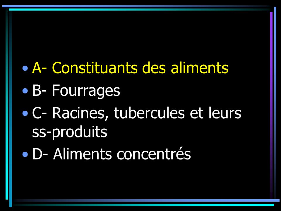 A- Constituants des aliments