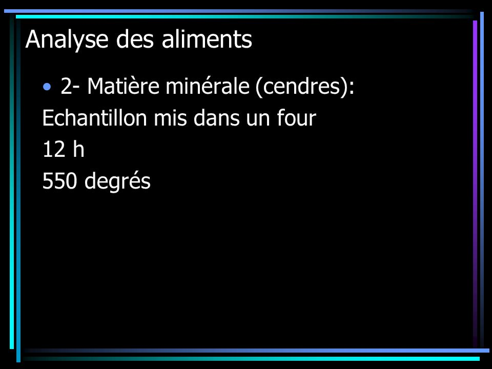 Analyse des aliments 2- Matière minérale (cendres):