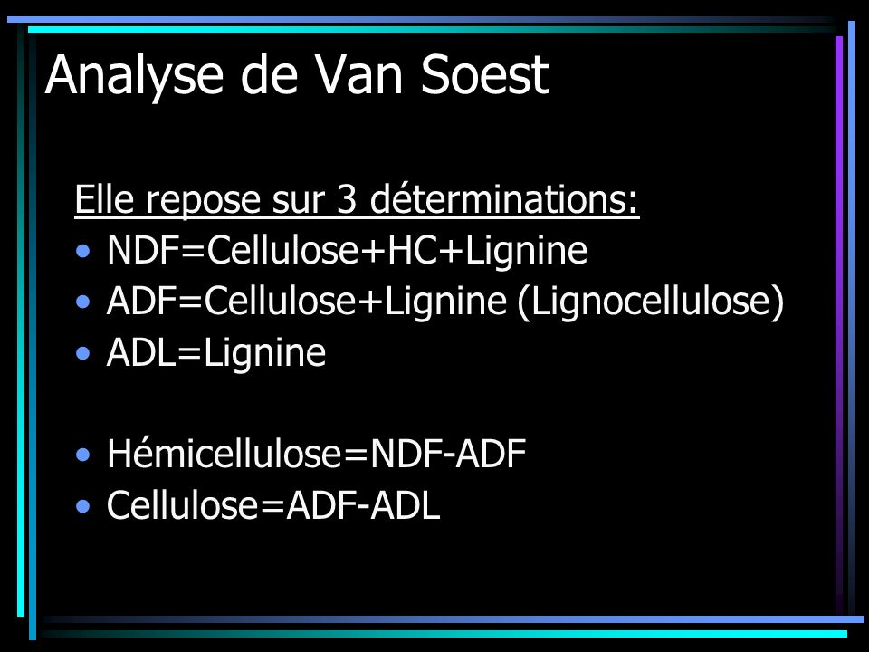 Analyse de Van Soest Elle repose sur 3 déterminations: