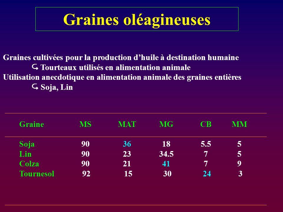 Graines oléagineuses Graines cultivées pour la production d'huile à destination humaine.  Tourteaux utilisés en alimentation animale.
