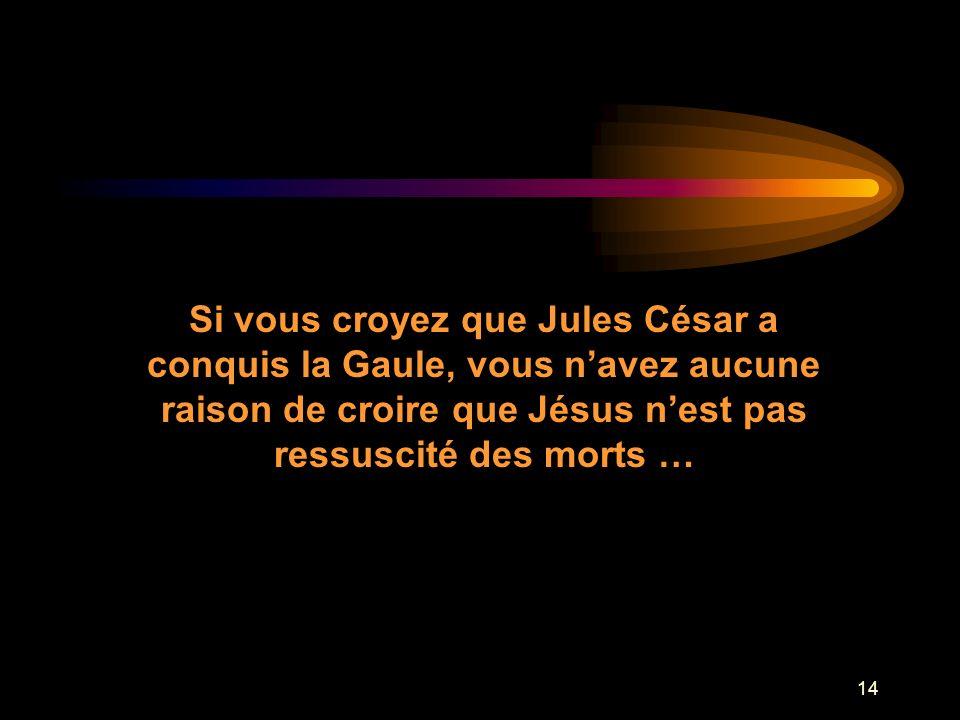 Si vous croyez que Jules César a conquis la Gaule, vous n'avez aucune raison de croire que Jésus n'est pas
