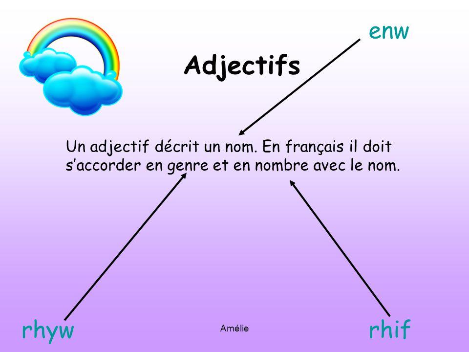 Adjectifs enw rhyw rhif