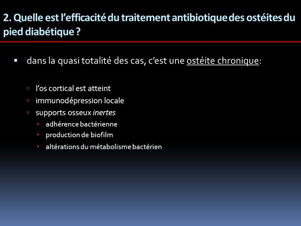 2. Quelle est l'efficacité du traitement antibiotique des ostéites du pied diabétique