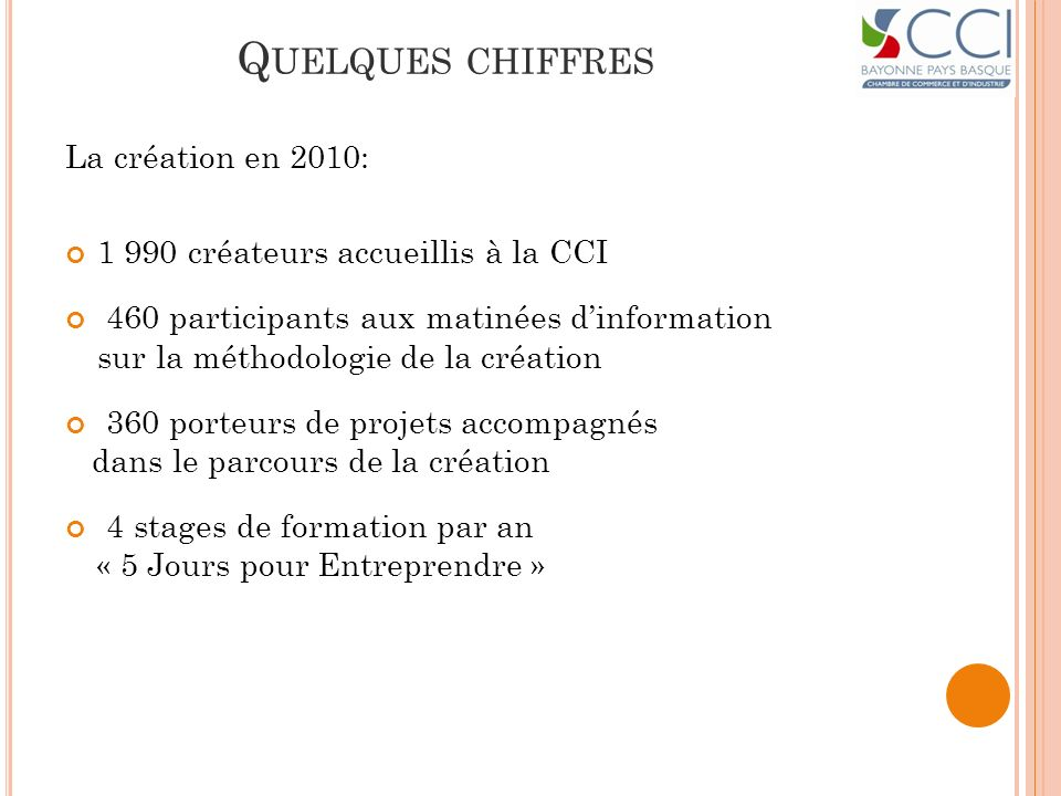 Quelques chiffres La création en 2010:
