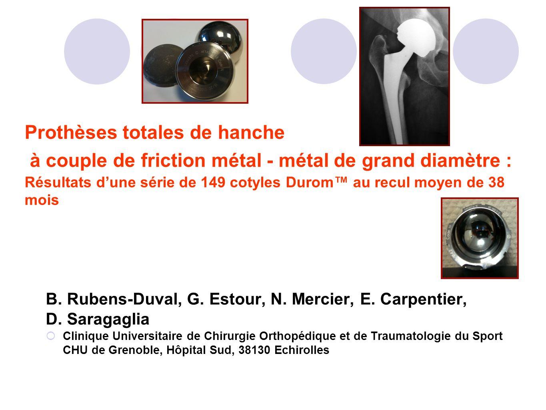 Prothèses totales de hanche à couple de friction métal - métal de grand diamètre : Résultats d'une série de 149 cotyles Durom™ au recul moyen de 38 mois
