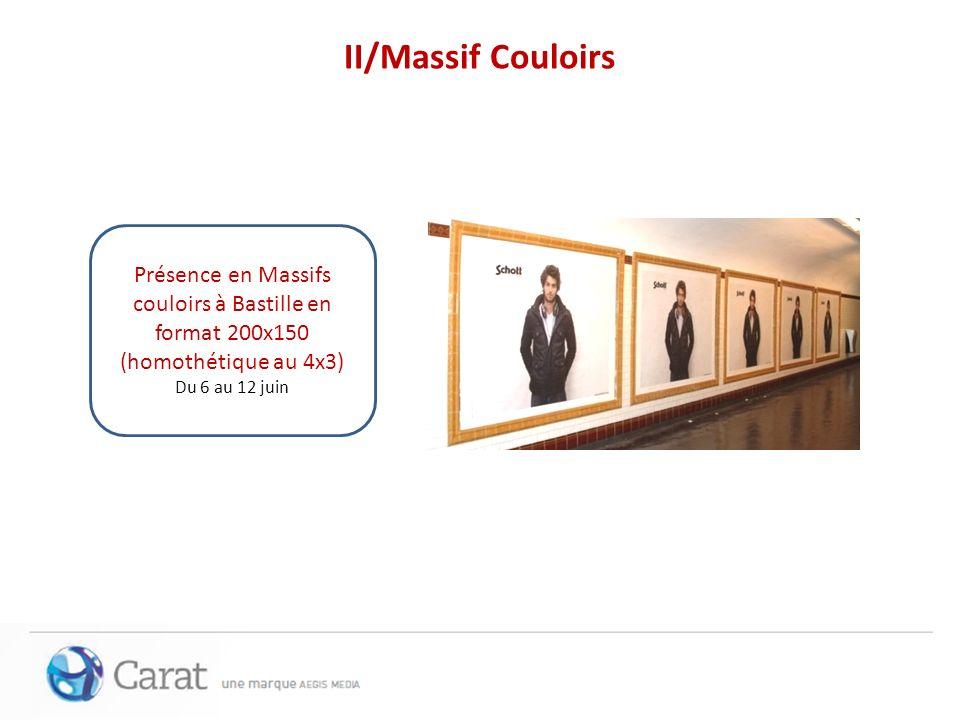 II/Massif CouloirsPrésence en Massifs couloirs à Bastille en format 200x150 (homothétique au 4x3) Du 6 au 12 juin.