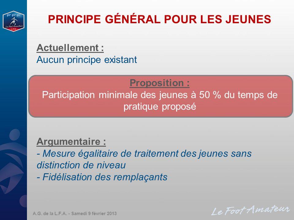 PRINCIPE GÉNÉRAL POUR LES JEUNES